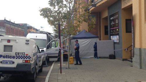 Police outside the Perth church. (9NEWS / Oliver Peterson)