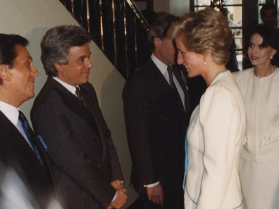 Princess Diana meeting with designer friends at a function Instagram photo