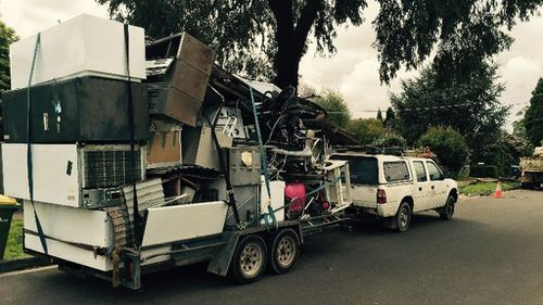 The items were precariously stacked on top of each other and inadequately secured. (Victoria Police)