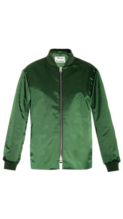 "<a href=""http://www.matchesfashion.com/intl/products/Acne-Studios-Fuel-Shine-satin-bomber-jacket-1000790"">Fuel Shine Satin Bomber Jacket, $725.90 approx, Acne Studios</a>"