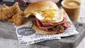 Barbecue bacon and eggs milk bun burger