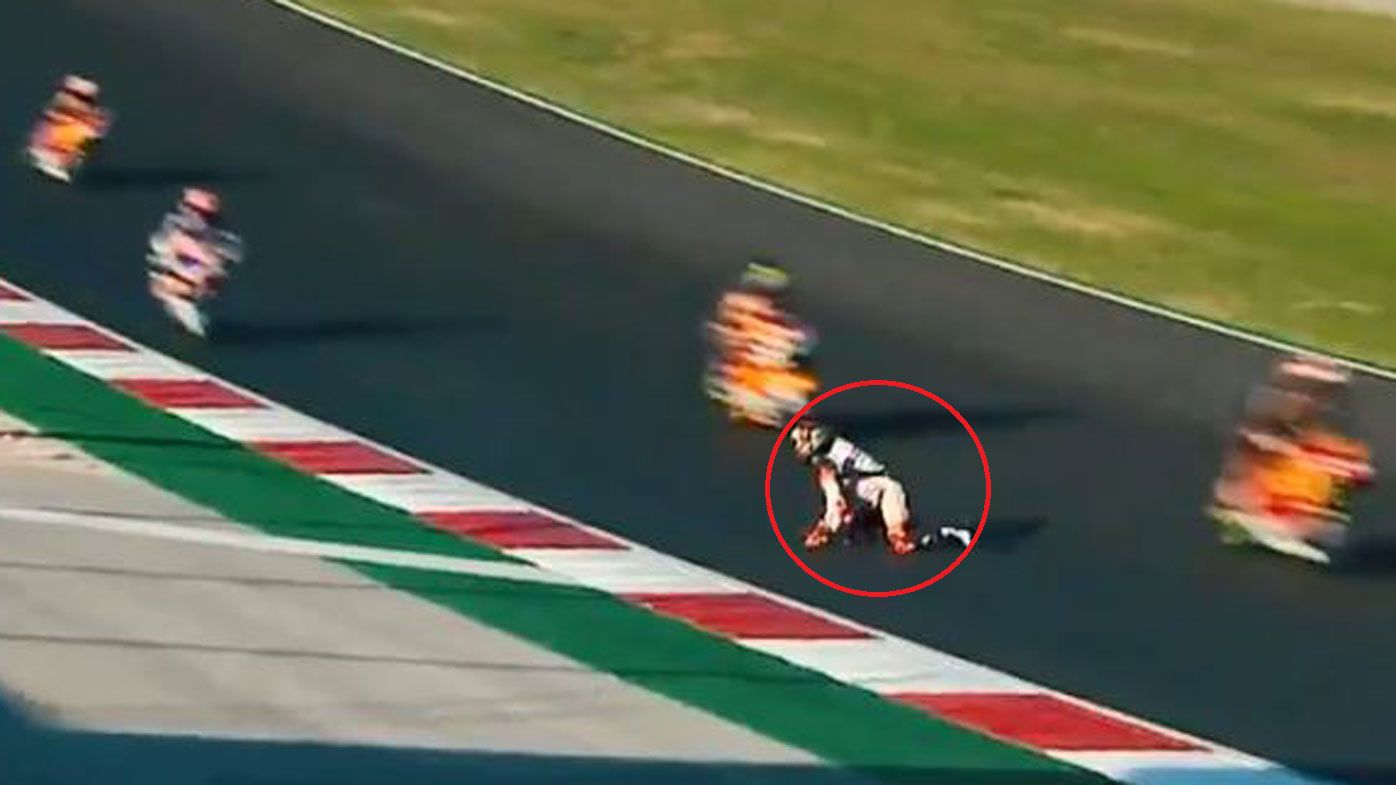 Moto2's Aron Canet makes miraculous escape from being hit by other riders after fall