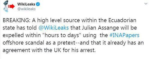 News World Julian Assange Wikileaks Ecuadorian embassy London INA papers leak