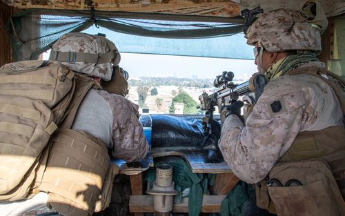 US Marines on watch in Baghdad, Iraq.