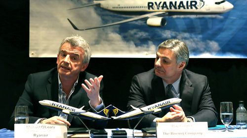 Ryanair CEO Michael O'Leary (left) holds a press conference in New York City.