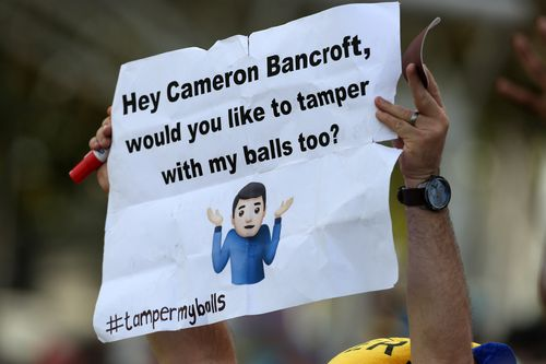 A fan in the crowd has fun at Cameron Bancroft's expense. Picture: Getty Images