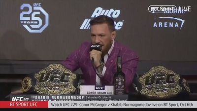 McGregor needles Khabib during eventful press conference ahead of fight