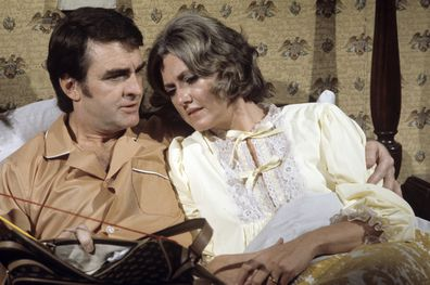 """Ray MacDonnell (Joe) and Mary Fickett (Ruth) in a scene on Walt Disney Television via Getty Images Daytime's """"All My Children."""""""