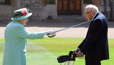 Queen Elizabeth confers the Honour of Knighthood on Captain Sir Thomas Moore in July 2020.