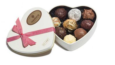 """<p>Haigh's assorted truffles in classic heart shaped tin - 140g RRP $27.50<br /> <a href=""""https://www.haighschocolates.com.au/dark-champage-truffle-valentines"""" target=""""_top"""">Haigh's Chocolates</a></p>"""