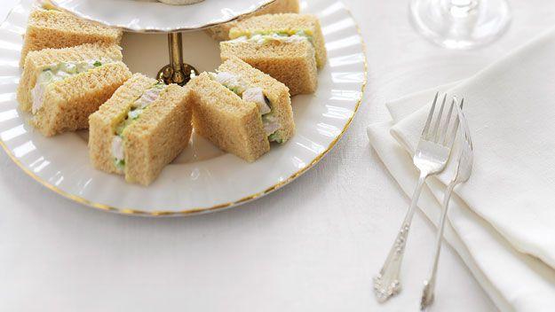 Chicken and almond finger sandwiches