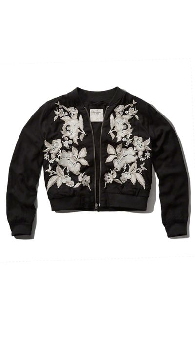 """<a href=""""https://www.abercrombie.com/shop/wd/p/embroidered-bomber-jacket-4272589_01"""" target=""""_blank"""">Jacket, approx. $130, Abercrombie &amp; Fitch</a>"""