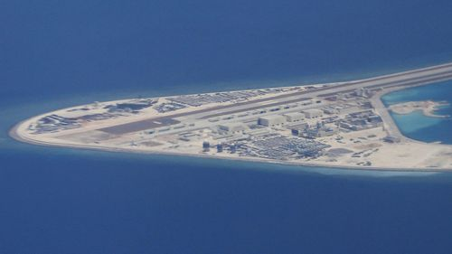 Man made island South China Sea.