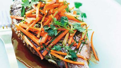 """Recipe:<a href=""""http://kitchen.nine.com.au/2016/05/20/11/26/steamed-asian-bream"""" target=""""_top"""" draggable=""""false"""">Steamed asian bream</a>"""