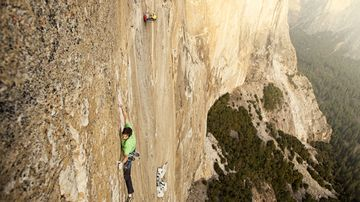 Kevin Jorgeson climbing the Dawn Wall during the filming of the movie The Dawn Wall in Yosemite Valley, CA, United States in January, 2015.