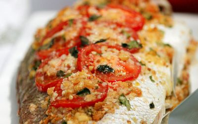 "Recipe: <a href=""http://kitchen.nine.com.au/2016/05/16/10/08/baked-whole-fish-pesce-al-forno"" target=""_top"">Baked whole fish (Pesce al Forno)</a>"