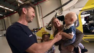 William and his mum Briana meet pilot Andrew Bavage. Picture: 9NEWS