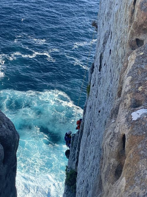 The man, 25, ended up landing on a ledge on the cliff face following the fall at Beecroft Peninsula NSW