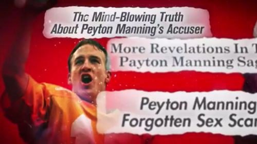 Legendary quarterback Peyton Manning and headlines of the alleged incident. (Inside Edition)