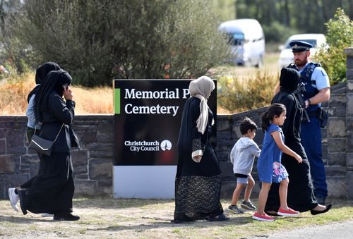 The funeral was held at the Memorial Park Cemetery in Christchurch, New Zealand (AAP Image/Mick Tsikas)