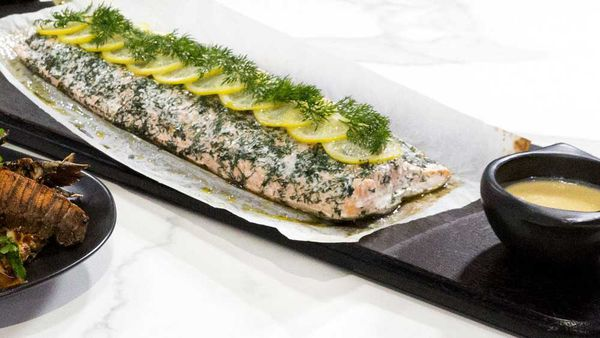 Hayden Quinn's Family Food Fight salmon with beurre blanc sauce