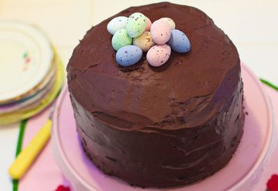 Easter egg one-bowl chocolate layer cake