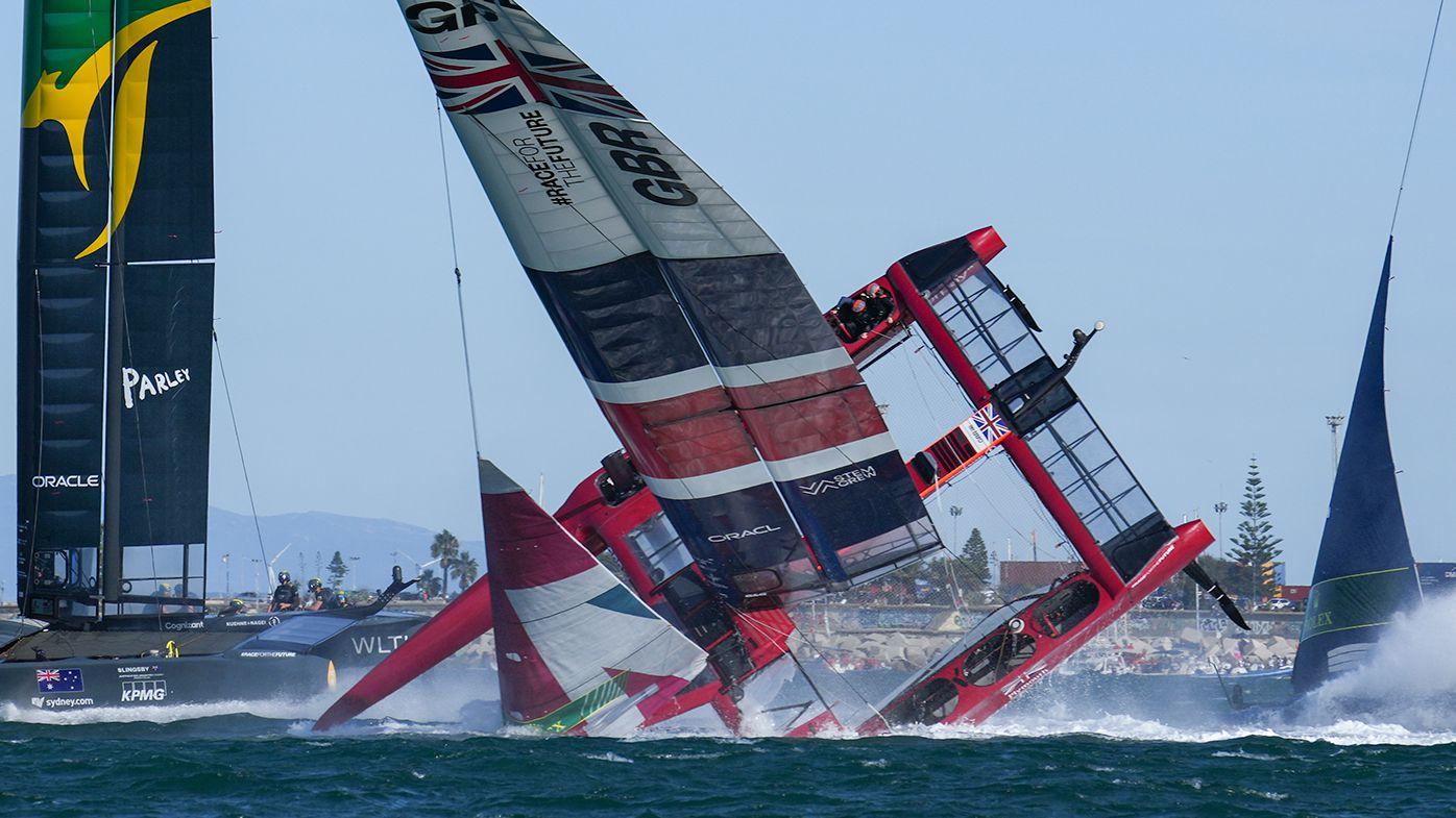 The Great Britain team capsizes during the podium race at the Cadiz Sail Grand Prix in Spain.