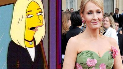 """<B>Appeared in:</B> 'The Regina Monologues' (2003). On the one hand, the <I>Harry Potter</I> author's guest appearance represents the worst kind of The Simpsons """"HEY LOOK, A CELEBRITY!"""" tokenism. On the other hand, Rowling justified herself with one brilliant line...<br/><br/><B>Best line:</B> [The sarcastic reply when Lisa asks what happens at the end of the <I>Harry Potter</I> books] """"He grows up and marries <I>you</I>. Is that what you want to hear?"""""""