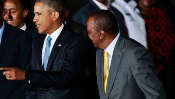US president Barack Obama and Kenyan president Uhuru Kenyatta. (AAP)