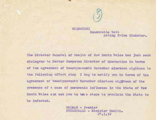 Papers show when the NSW border with Victoria was closed amid the Spanish flu pandemic in 1919.