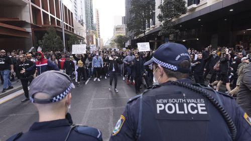 Anti-lockdown protest  on 24 July, 2021. Photo: Brook Mitchell