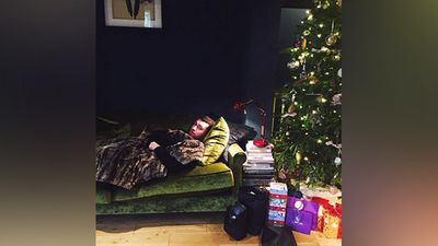 Singer Sam Smith spent Christmas Eve eating and staying by the tree. (Instagram)