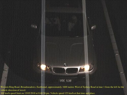 The BMW travelled 123km/h in a 100km/h zone on the Western Ring Road on May 15. Picture: Supplied