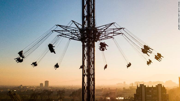 People were seen at an amusement park attraction in Santiago, Chile, on July 30, 2021.