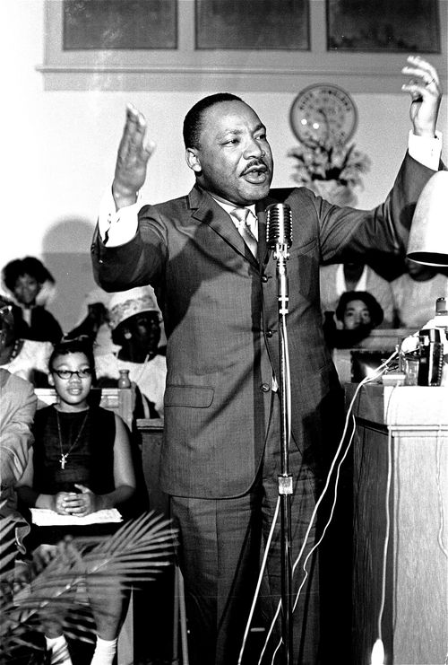 Martin Luther King Jr speaking at a rally in Montgomery, Alabama, in 1966. He was two years later in 1968 in Memphis. (AP)