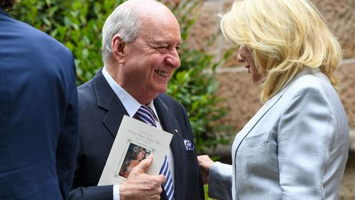 Radio host Alan Jones and TV personality Kerri-Anne Kennerley.