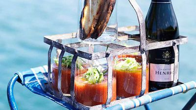 "This chilled version of <a href=""http://kitchen.nine.com.au/2016/05/16/14/04/grilled-tomato-gazpacho"" target=""_top"">grilled tomato gazpacho</a> is served up in a way that makes it not so far off a Bloody Mary, and we like the style."