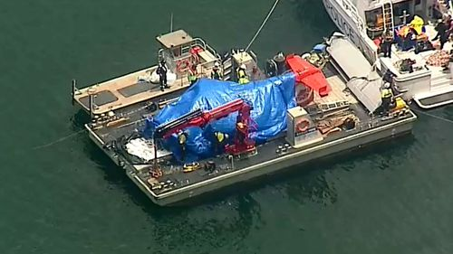 The plane was covered with a tarp once placed on the boat.