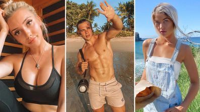 Erin, Charlie and Anna and three of the most followed Islanders from Love Island Australia.