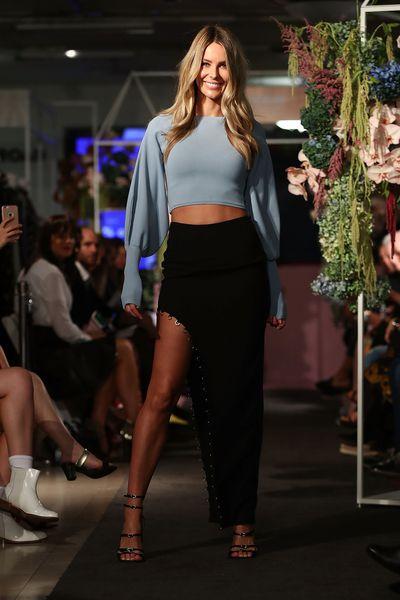 Jennifer Hawkins in Asilio during the Myer Fashion Runway show in Sydney, March, 2017