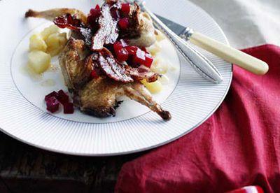 Roast quail with streaky bacon