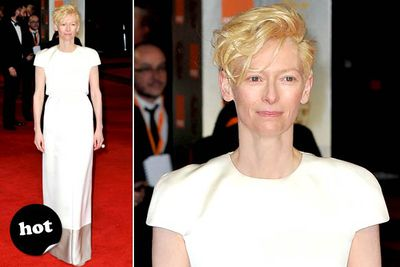 Tilda: you are amazing. You are fabulous. This is a pretty good look. But... kind of boring for you? (Fingers crossed she's saving the big guns for the Oscars.)