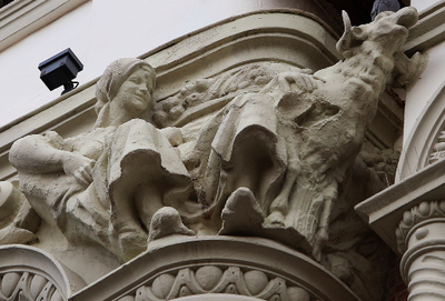 Sculpture on building in Palencia, Spain