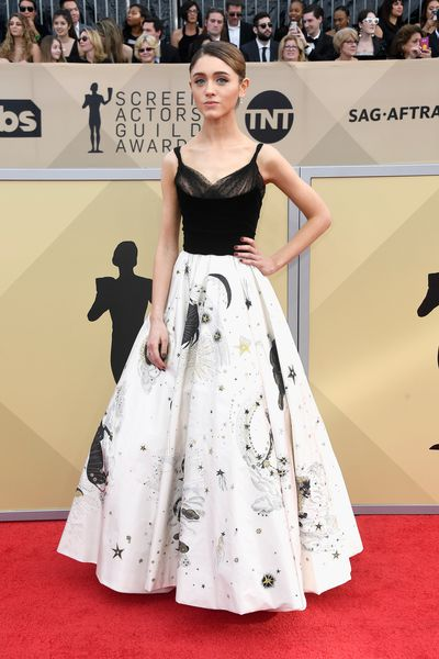 <em>Stranger Things</em> star Natalia Dyer in Dior at the 2018 SAG Awards