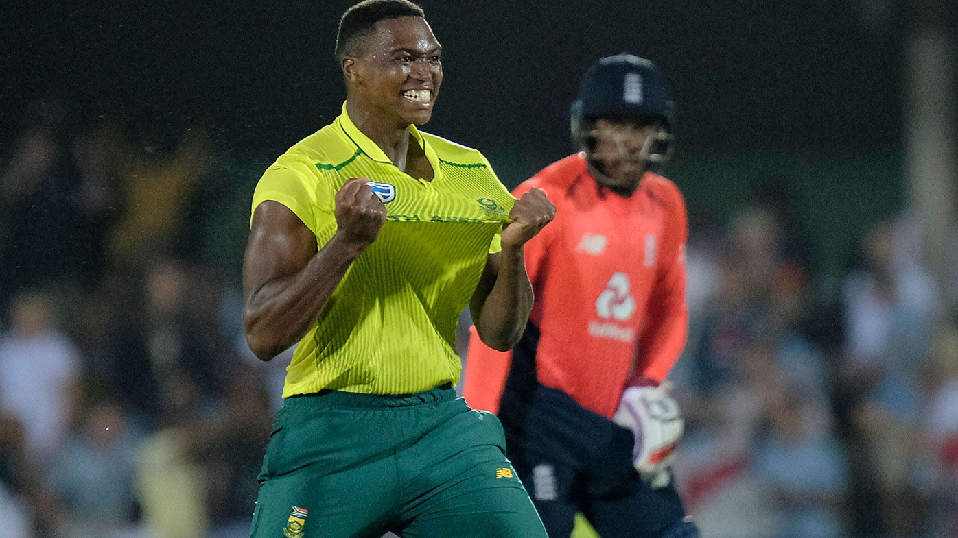 Lungi Ngidi celebrates after South Africa snatched a one-run win over England in their T20 match.