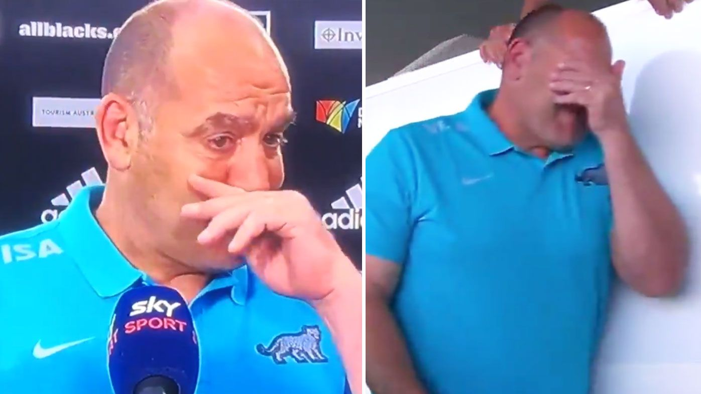 Mario Ledesma was emotional following Argentina's historic win over the All Blacks. (Twitter)