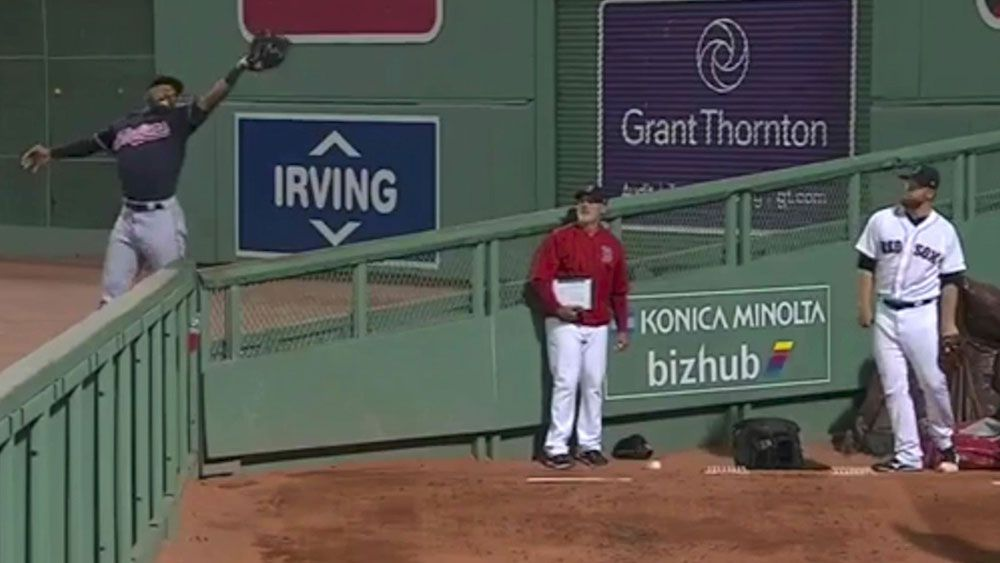 Cleveland Indians player Austin Jackson pulls off a catch that rivals Steve Smith's effort for Australia
