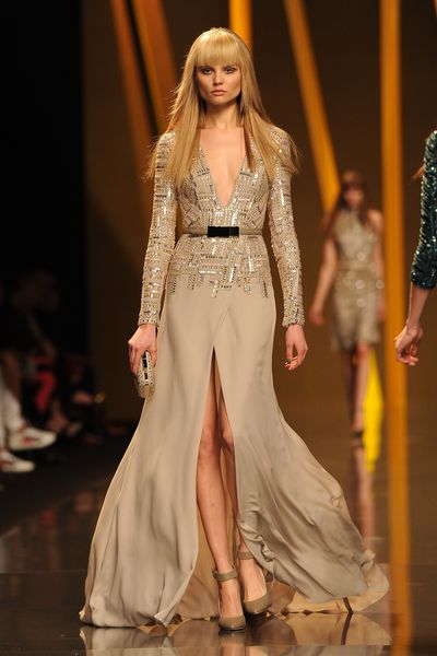 Abbey Lee Kershaw walks the runway during the Elie Saab Ready-To-Wear Fall/Winter 2012 show as part of Paris Fashion Week on March 7, 2012.