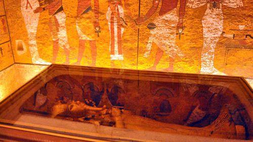 Tutankhamun's sarcophagus on display.