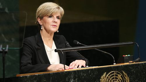 Julie Bishop addresses the UN general assembly on Sunday. (AAP)